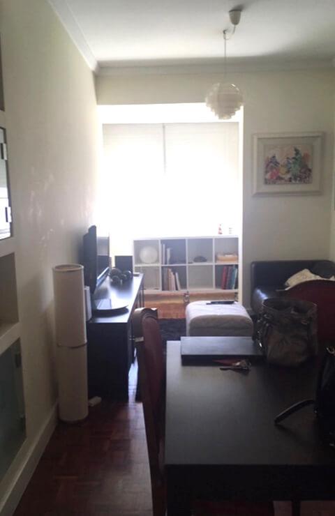 Sala - Escritório - Antes - Apartamento Campo de Ourique - Lisboa